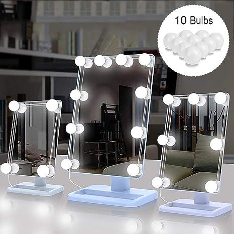 Sunvito - Juego de 10 luces LED para tocador, estilo Hollywood, con regulador de