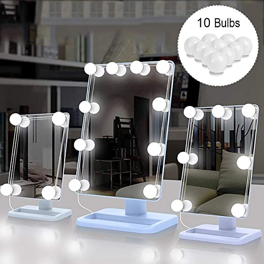 Sunvito - Juego de 10 luces LED para tocador, estilo Hollywood, con regulador de