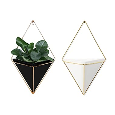 Geometric Wall Planter Set of 2, White and Black Wall Hanging Decorative Mini Vases, Ceramic Wall Planter with Brass Accent Decor, Cute Planters for Mini Cactus, Succulent Plants & Artificial Plants
