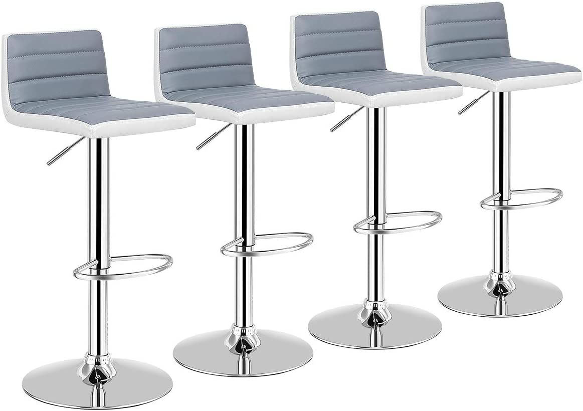 COSTWAY Bar Stool, Modern Swivel Adjustable Armless Barstools, Counter Height PU Leather Bar Stools for Kitchen Dining Living Bistro Pub Counter Back Bar Stools, Set of 4, Gray and White 4 stools