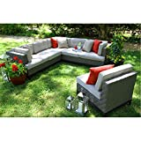 AE Outdoor 4-Piece Camilla All Weather Wicker Sectional with Sunbrella Fabric For Sale