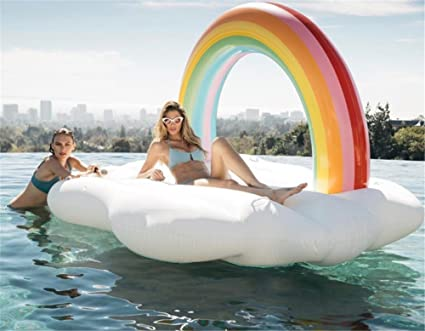 Amazon.com: lcycn hinchable Rainbow isla flotante cama ...