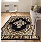 """Intricate Medallion Black 5x7 ( 5'3"""" x 7'3"""" ) Traditional European Floral Border Thin Value Area Rug Perfect for Living Room Dining Room Family Room"""