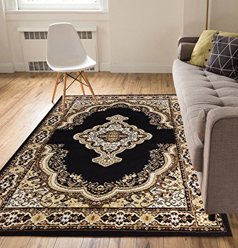 Traditional Entryway (Well Woven Intricate Medallion Black 5x7 (5'3