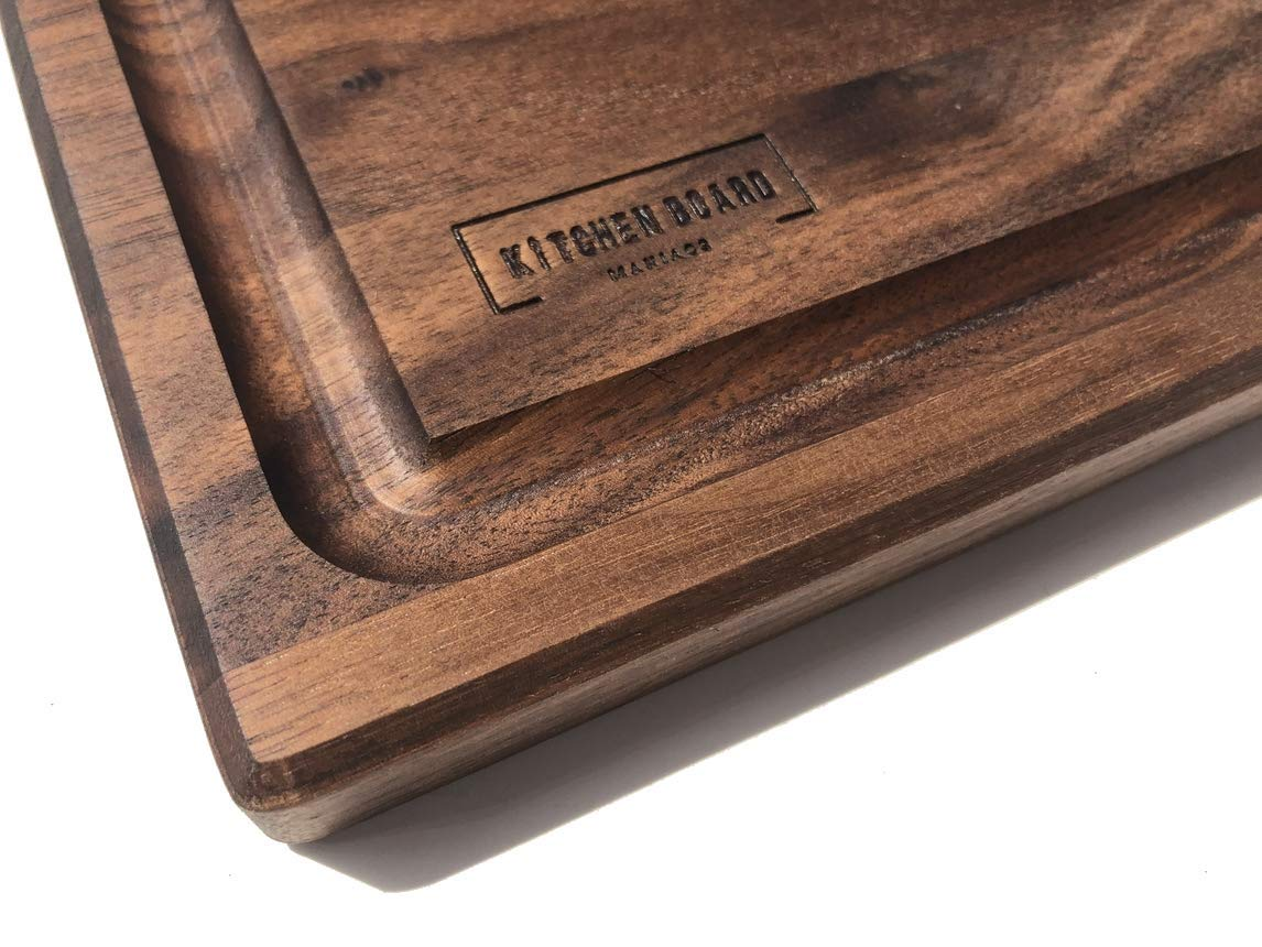 Walnut Wooden Cutting Board by Kitchen Board Maniacs - 16 x 10 1/2 Walnut Wood Cutting Board and Butcher Block Counter top with Juice Drip Groove
