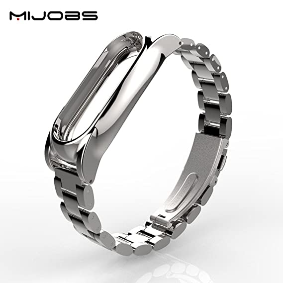 Original Mijobs Metal Strap For Xiaomi Mi Band 2 Screwless Stainless Steel  Bracelet For MiBand 2 Wristbands Replace Accessories For Mi Band 2 (Silver)