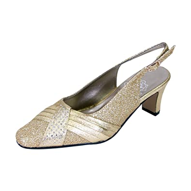 4cbb87aa059 Floral Abagail Women Extra Wide Width Metallic Pleated Crystals Closed Toe  Slingback Gold 5