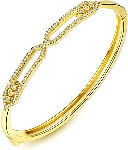 أساور فخمة من خليط الزيركون غلودن الكفة للنساء أساور عاشق سوار مجوهرات الموضة إكسسوارات الإسورة Pulseiras هدية مثالية