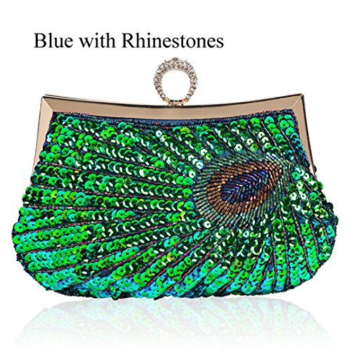 Party Bags Purse Sequins Clutch Bridal Beaded Blue Wedding Rhinestones Gifts Evening Handbag nIHwxHA