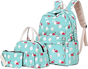 Flamingo School Bag Set, Junlion Laptop Backpack Lunch Bag Pencil Case