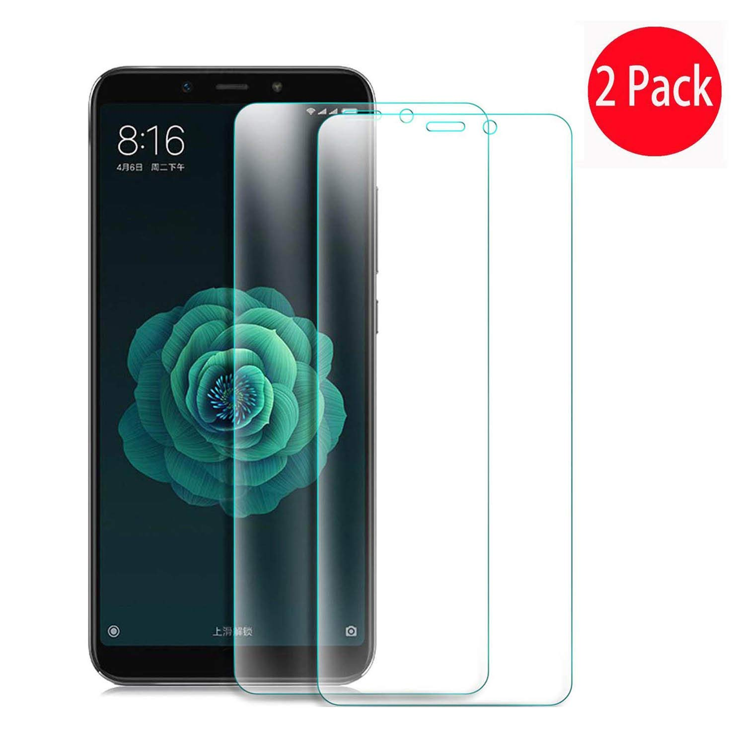 (2 Pack) Xiaomi Mi A2 Screen Protector,Xiaomi Mi 6X Screen Protector- MYLB Full Coverage Screen Protector High Definition Clear, Shockproof, Bubble Free and Easy to Install Protective Film for Xiaomi Mi A2/Xiaomi Mi 6X smartphone (Transparent) OEM