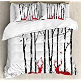 Ambesonne Antlers Duvet Cover Set King Size, Deer Tree Forest with Red Holiday Theme Flying Leaves Branch Reindeer, Decorative 3 Piece Bedding Set with 2 Pillow Shams, Red Black Grey White