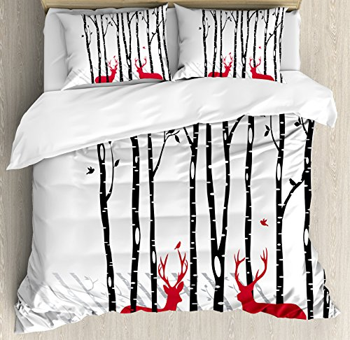 vet Cover Set Queen Size, Deer Tree Forest with Red Holiday Theme Flying Leaves Branch Reindeer, Decorative 3 Piece Bedding Set with 2 Pillow Shams, Red Black Grey White (Branch Comforter Set)