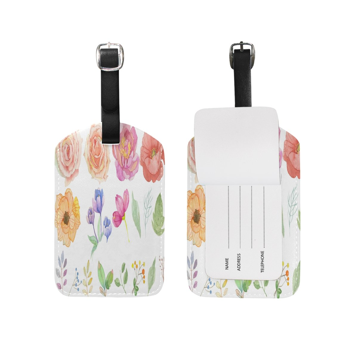 1Pcs Saobao Travel Luggage Tag Watercolor Flower Background PU Leather Baggage Suitcase Travel ID Bag Tag