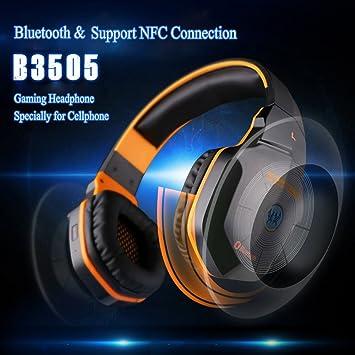 KOTION EACH B3505 Auriculares para juegos estéreo inalámbrico Bluetooth 4.1 Auricular Soporte NFC con micrófono para iPhone6/iPhone6 Plus Samsung negro ...