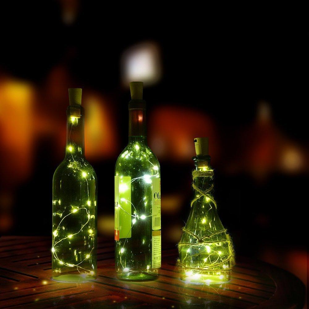 3 Pcs Luces Bombillas 20 LEDs 100cm 40 inch en Forma de Corcho de Botella de Vino para Fiesta Bodas Festival Conciertos Decoración Árboles Navidad Carnaval ...