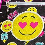 Emoji-Embellished-Triple-Pocket-17-Girls-Backpack-Kids