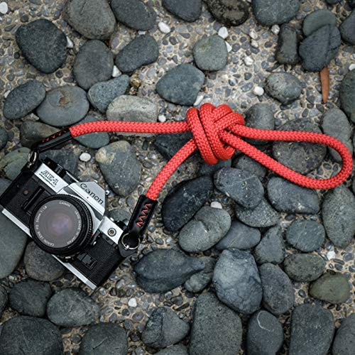 A-Mode Sangle de cam/éra 120 cm Fait Main pour Leica Nikon Fuji Pentax Canon Panasonic Sony Rouge