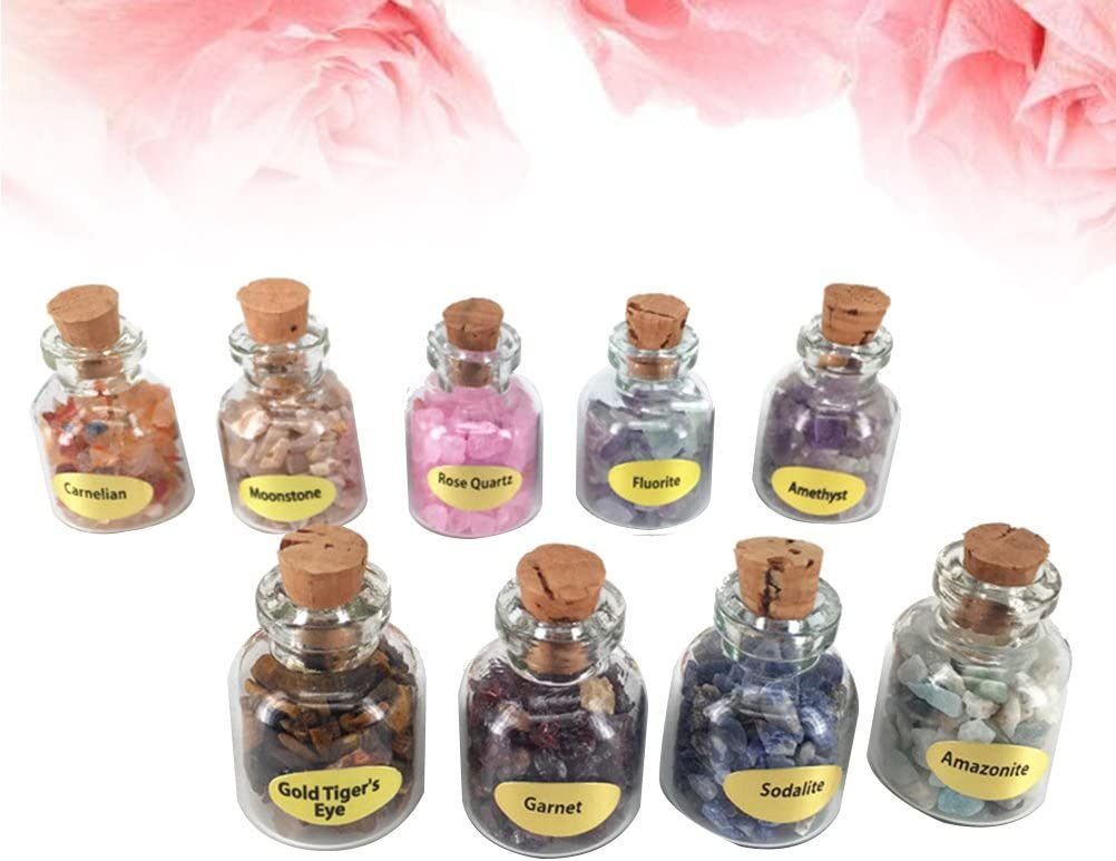 HEALLILY Clear Mini Glass Jars with Cork and Tumbled Stones Chip Crystal Healing Gem Reiki Wicca Stones 9PCS