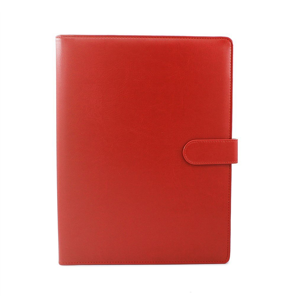 Gunsamg A4 Clipboard Folder Portfolio Multi-Functional Faux Leather Sturdy Clip Board Folder for Office Writing Pads Legal Paper (Red)