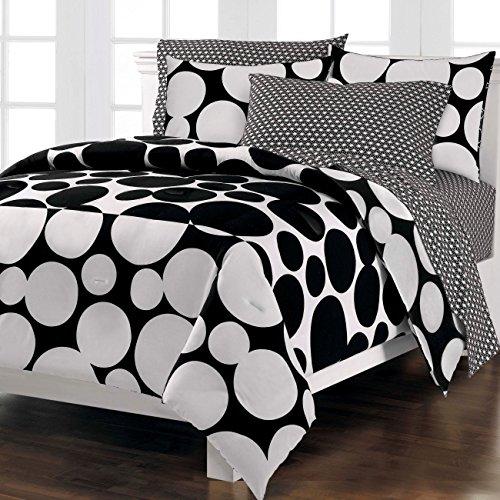Loft Style Spot The Dot Modern Bedding Comforter Set, Black, Full