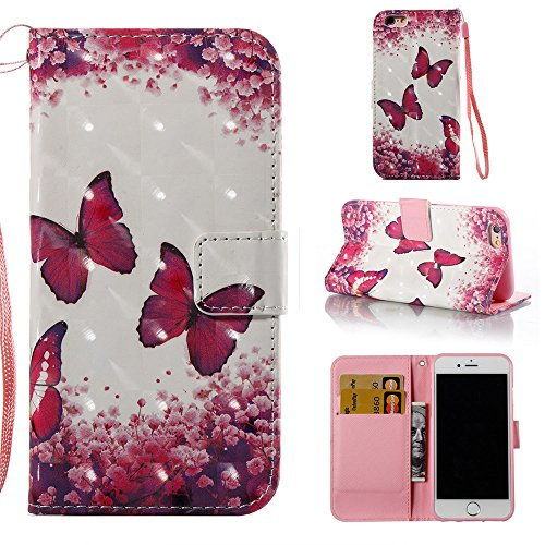 Voanice Flip Wallet Case iPhone 6S Plus Case, iPhone 6 Plus Case PU Leather Credit Card Holder Slots Kickstand Cover Protective Apple iPhone 6 Plus / 6S Plus & Stylus-Hot Pink Butterfly
