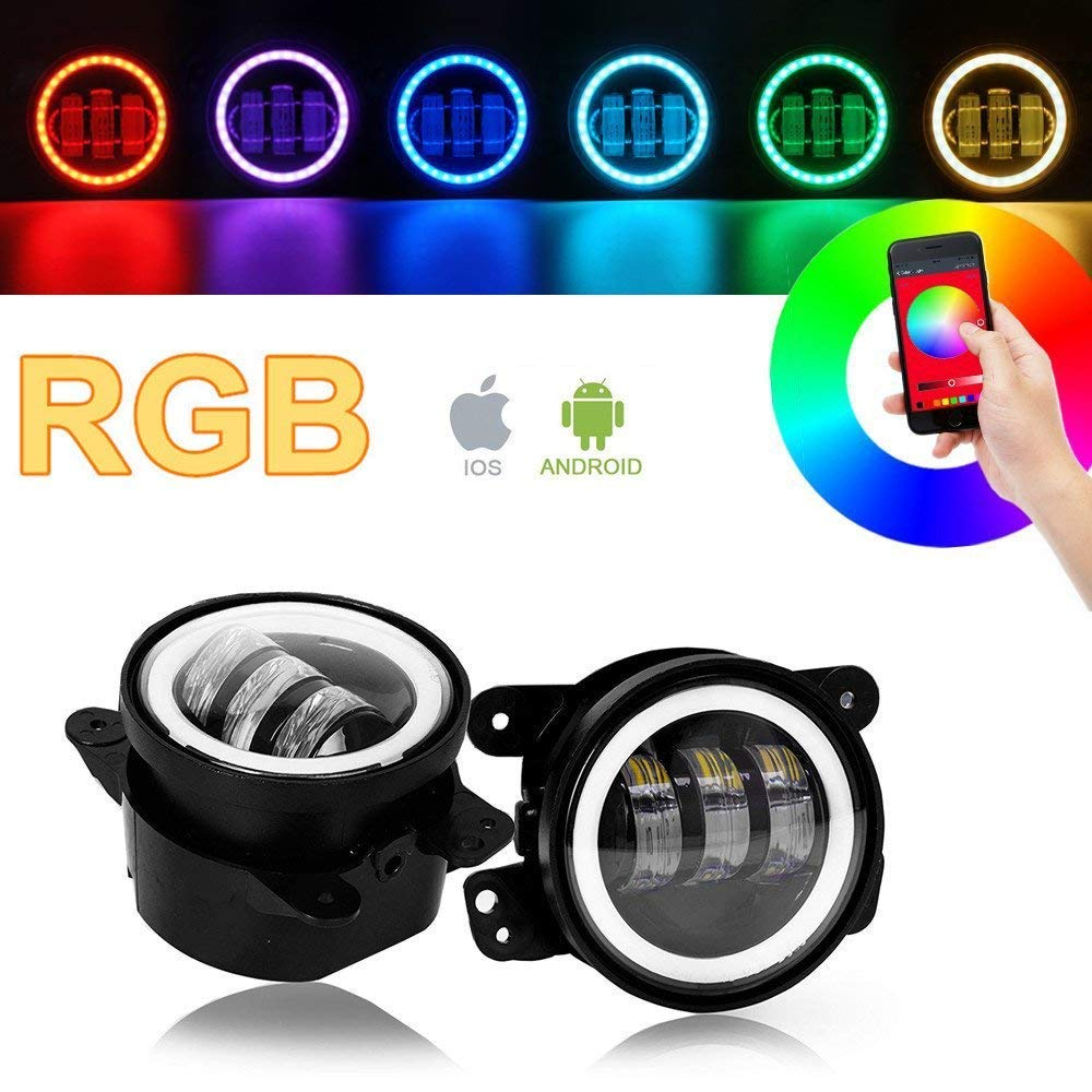 SXMA 4 Zoll 10.2cm Runde LED-Nebelscheinwerfer Farbe RGB-Halo-Ring DRL-LED-Nebelscheinwerfer Frontsto/ßstange Licht Bluetooth-Steuerung f/ür 2007-2017 J eep Wrangler JK JKU