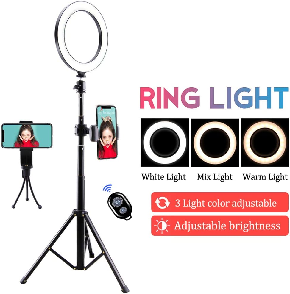 Live Video YouTube Ring light 20cm LED with Hose Bracket 360/° Rotate Dimmable for Video Shooting Makeup