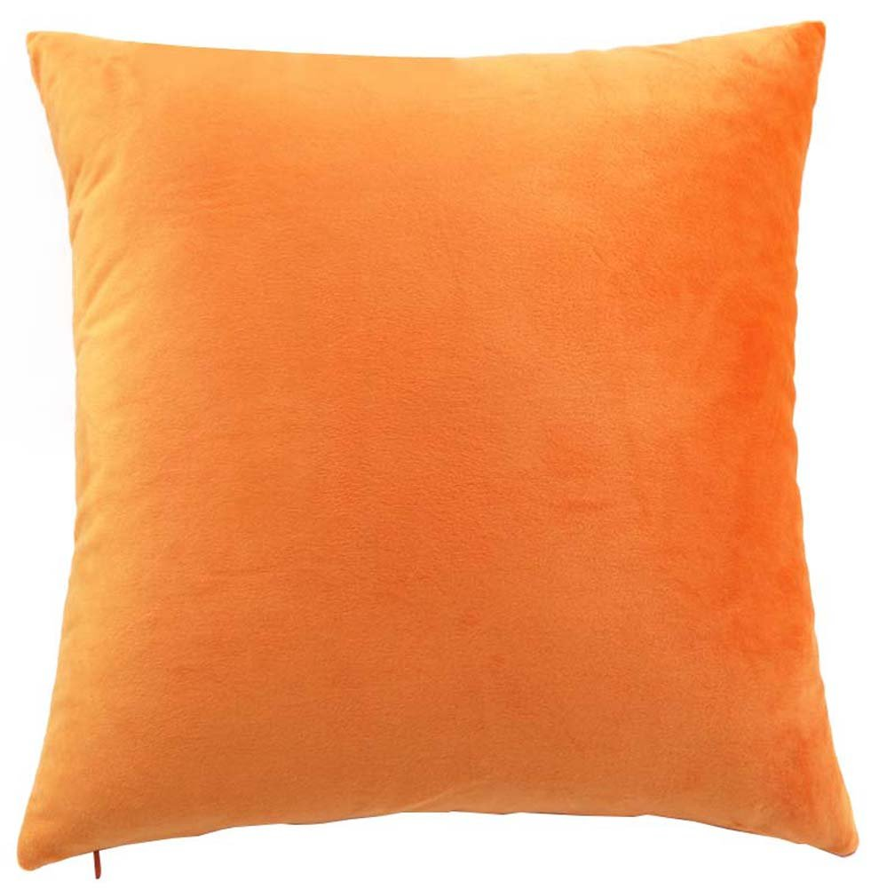 YJBear Solid Candy Color Pillow with Insert Soft Short Plush Cushion Filler Back Cushion Home Decor with Invisible Zipper Orange 22 X 22