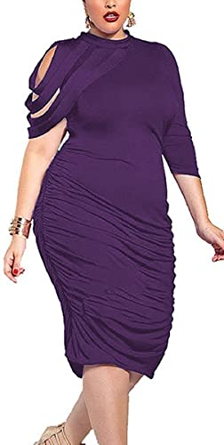 Women's Ruched Crew Neck Plus Size Bodycon Long Evening Party Maxi Dress