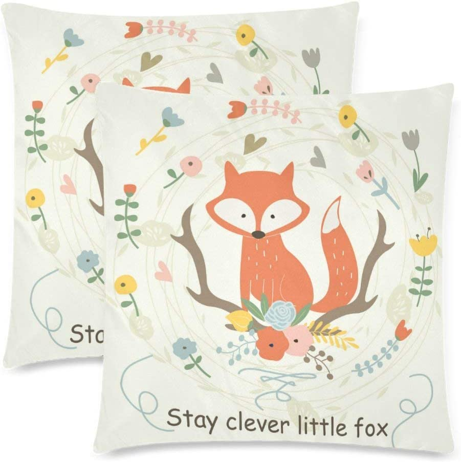 Royalreal Custom Cute Fox Flowers in Cartoon Style Throw Pillow Cover Decorative Durable Cushion Cover Set of 2 16x16inch Soft Linen Pillowcase for Sofa Couch Bedroom Stay Clever Little Fox