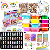 Slime Kit - Slime Supplies Make Your Own Slime, Slime Making Kit for Kids, Includes Crystal Slime, Glitter Sheet Jars, Unicorn Slime Charms, Foam Balls, Fruit Slices, Fishbowl Beads, Sugar Paper
