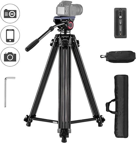 Trípode de Video Profesional en Aleación de Aluminio Andoer para Cámaras Canon Nikon SLR Sony con Liberación Rápida Hidráulica opcional, Altura 67 pulgadas Carga Máxima 10 kg: Amazon.es: Electrónica