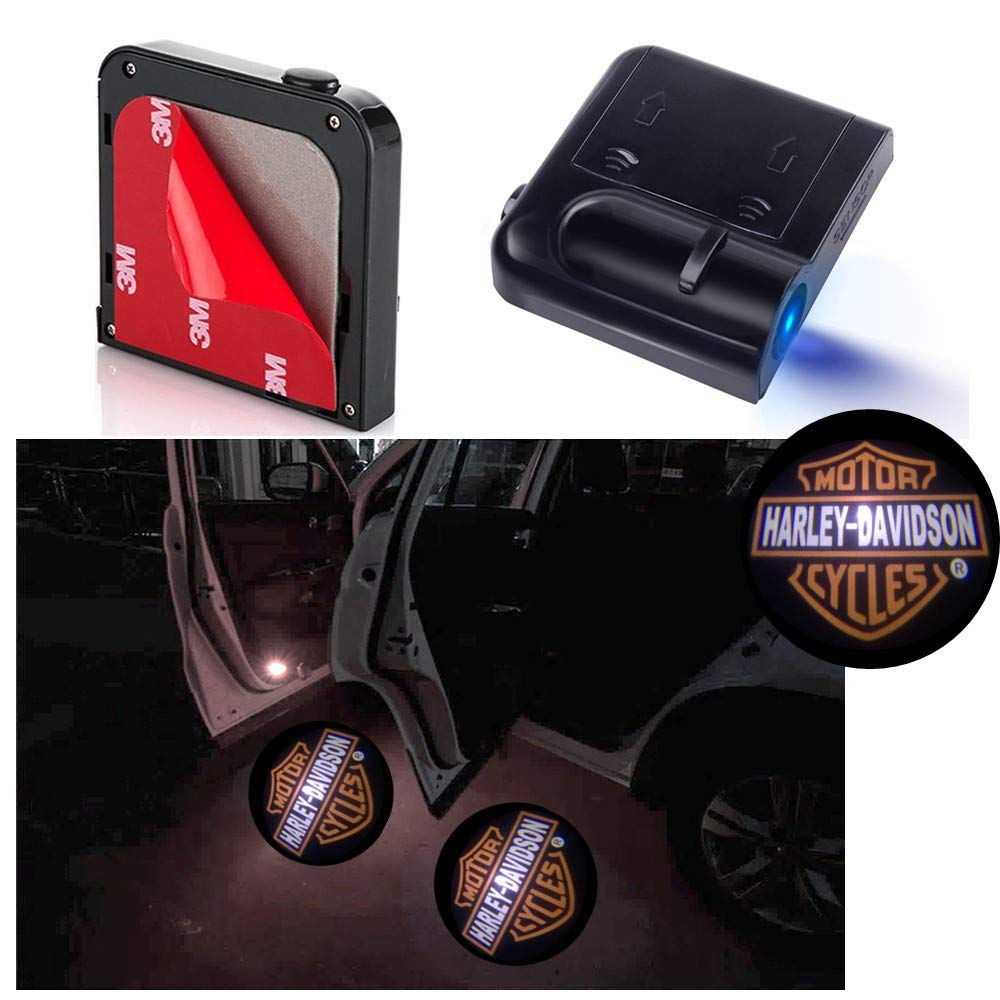 Universal Wireless Car Projection LED Projector Door Ghost Light Shadow Light Welcome Light Laser Emblem Logo Lamps, No Drilling Required, Personalized logo available (Jeep Wrangler) MONDES
