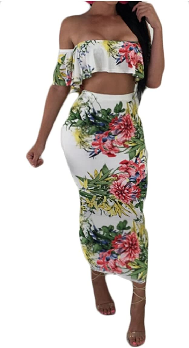YONGM Womens Off Shoulder Ruffle Crop Top and Bodycon Skirts Outfits