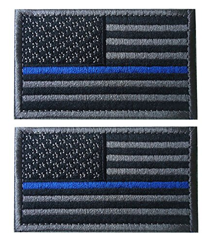 (TACVASENBundle 2 pieces-Tactical US Flag Thin Blue Line Embrodiered Patch)