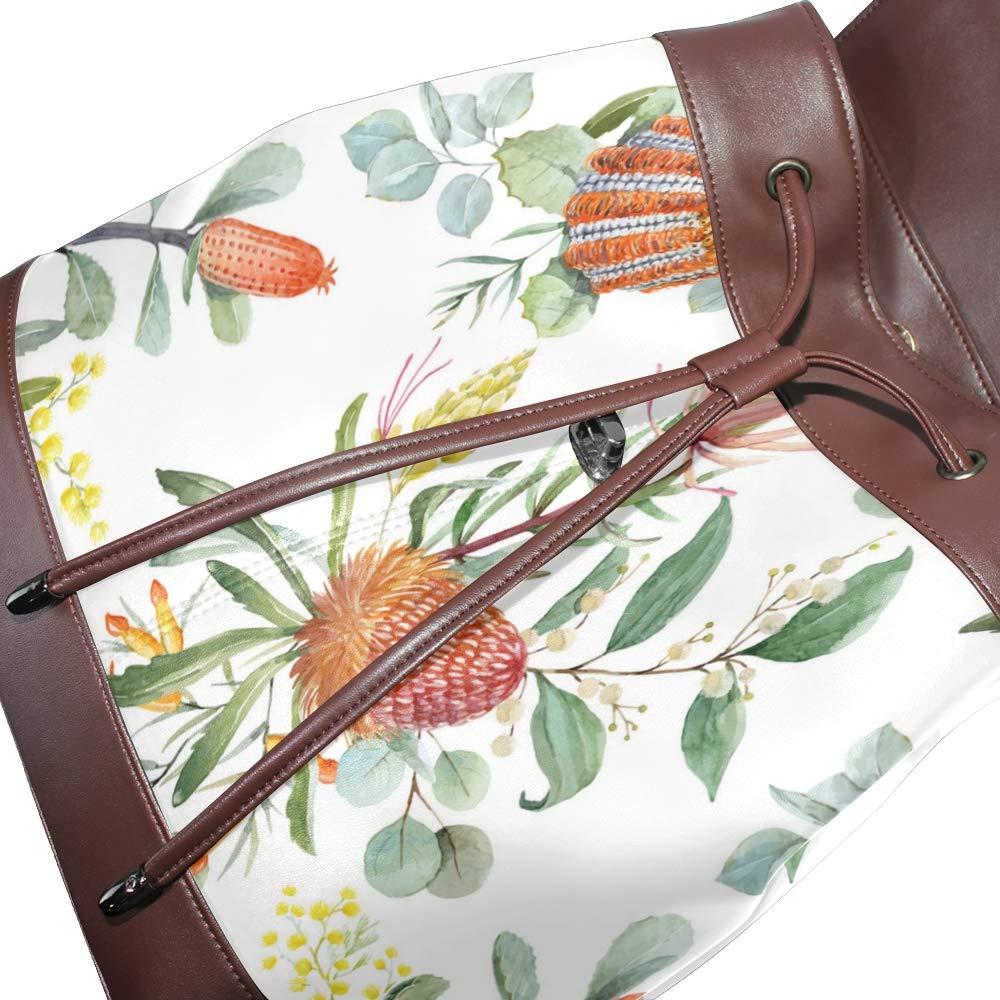 Fashion Shoulder Bag Rucksack PU Leather Women Girls Ladies Backpack Travel Bag Watercolor Fresh Tropical Leaves