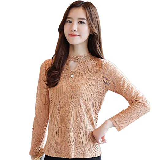 Efinny Women S Hollow Out Lace Tops Long Sleeve Choker Blouse Casual