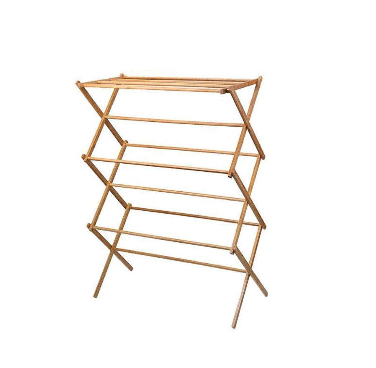 HYZLYJ Clothes Drying Rack, Floor Folding Bamboo Solid Wood Balcony Indoor X-Type Telescopic Household Towel Rack Drying Rack Trumpet