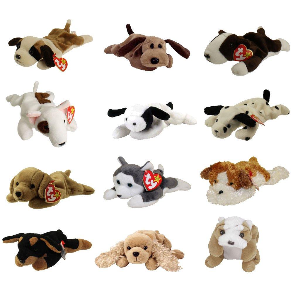 TY Beanie Babies - DOGS #1 (Set of 12)(Bernie, Bones, Fetch, Nanook, Spot, Spunky +6)(7.5-9 inch) by TY Beanie Babies