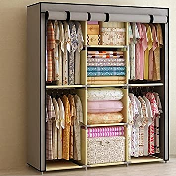 Generic Reinforced Portable Clothes Closet Organization Hangers Wardrobe  Armoires Storage Rack New