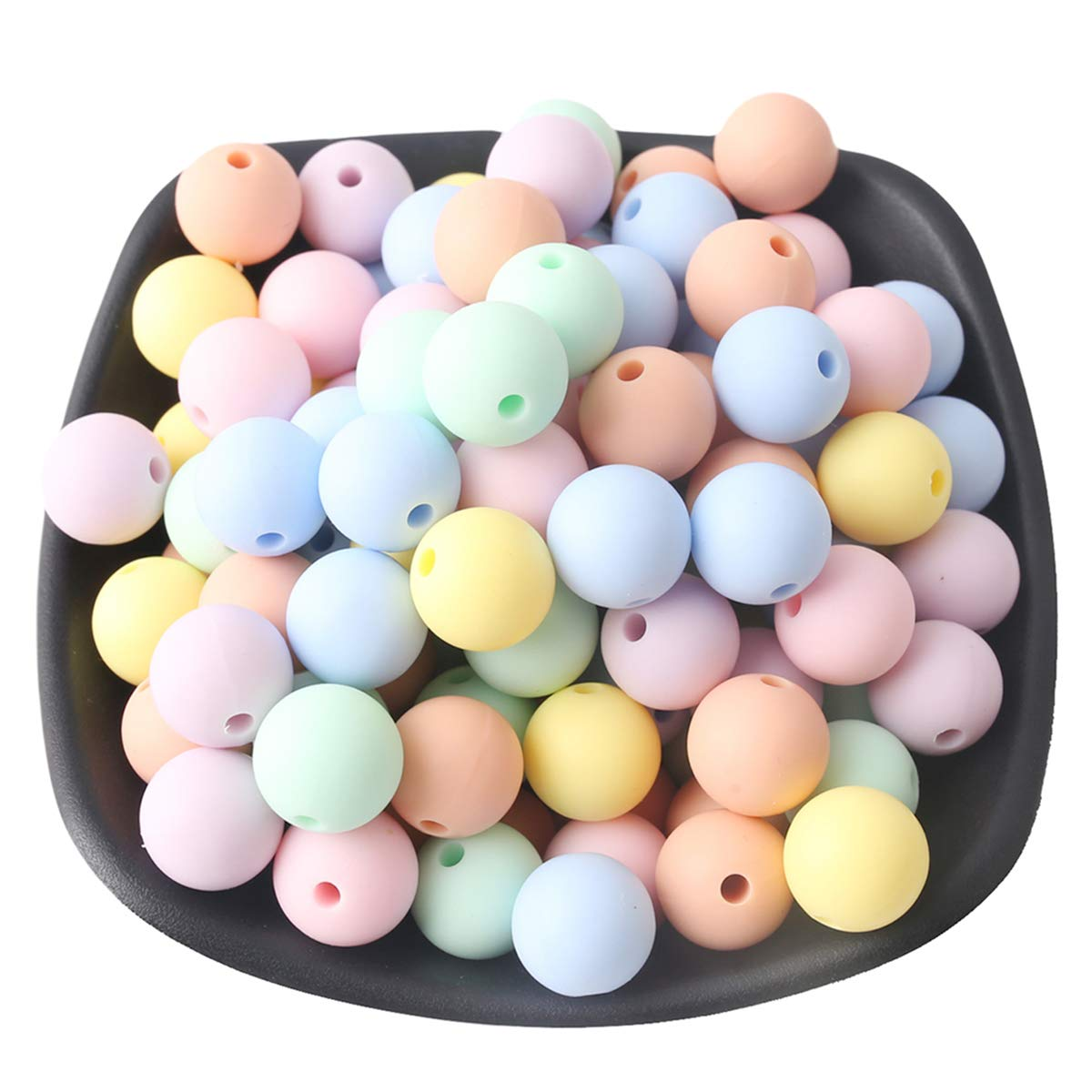 Baby Love Home Baby Teether Silicone Beads 50pc 15mm BPA Free Candy Color Round Balls DIY Teether Bracelet Beads for Kid Handmade Crafts Teether Toys