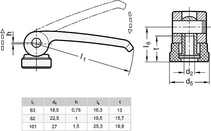 Ganter Normelemente Griffl/änge l1:  63mm 1 St/ück 927-63-M6-20-B-B Hebel Zink-Druckguss Gewinde d2: M6 Exzenterspanner mit Schraube schwarz
