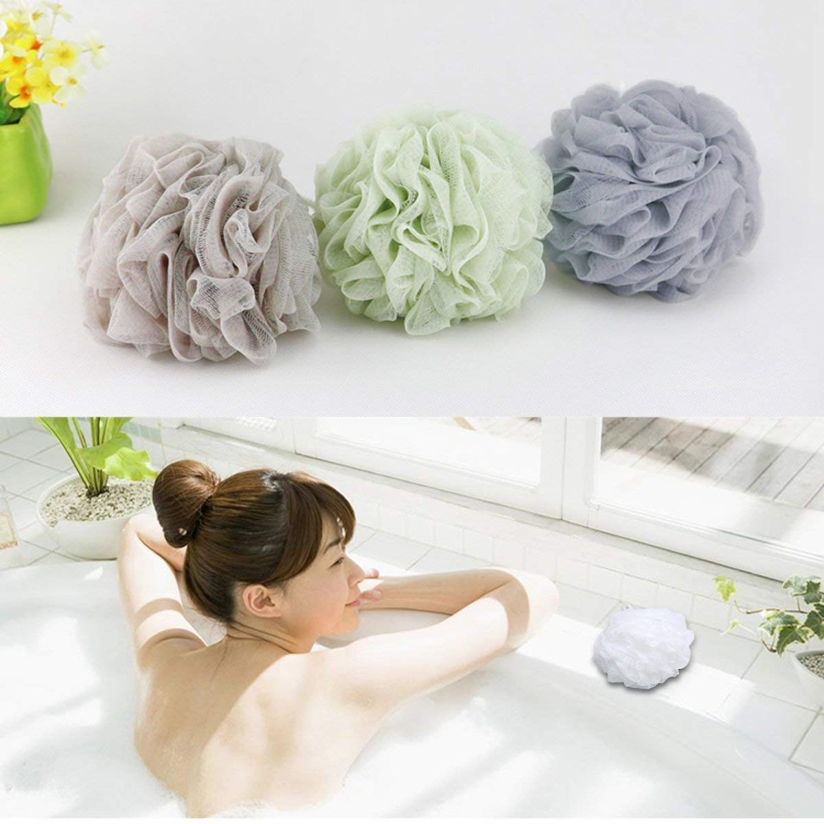 Bignay Bath Shower Sponge Loofahs Ball Scrubber for Men and Women Multi Color