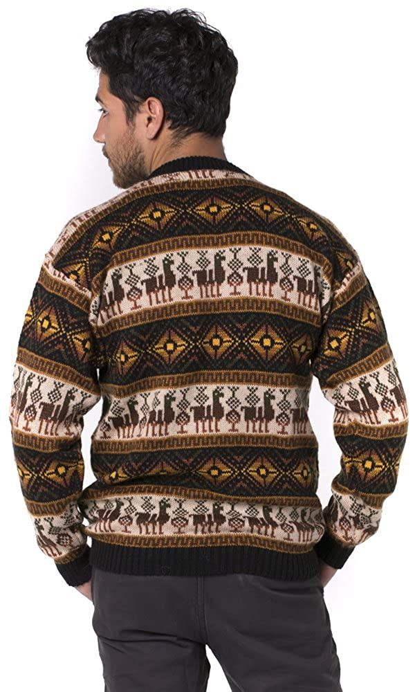 Alpaca Sweater for Men Crewneck Sweater Alpaca Men Extra Warm Gamboa Brown Tones