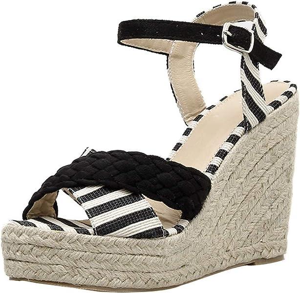 e4ff9b854b6 Amazon.com: Mnowson Women's Fashion Striped Espadrilles Wedges ...