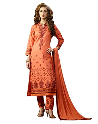 71599edb68e3 BanoRani Dark Peach Color Cotton Embroidery Semi Stitched Dress Material (Pant  Style): Amazon.in: Clothing & Accessories