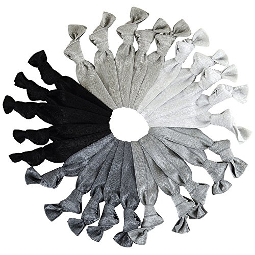 Gentle Knotted Ribbon Hair Ties Mega Pack Ponytail Holders, Silver Gray and Black, 25 Count ()
