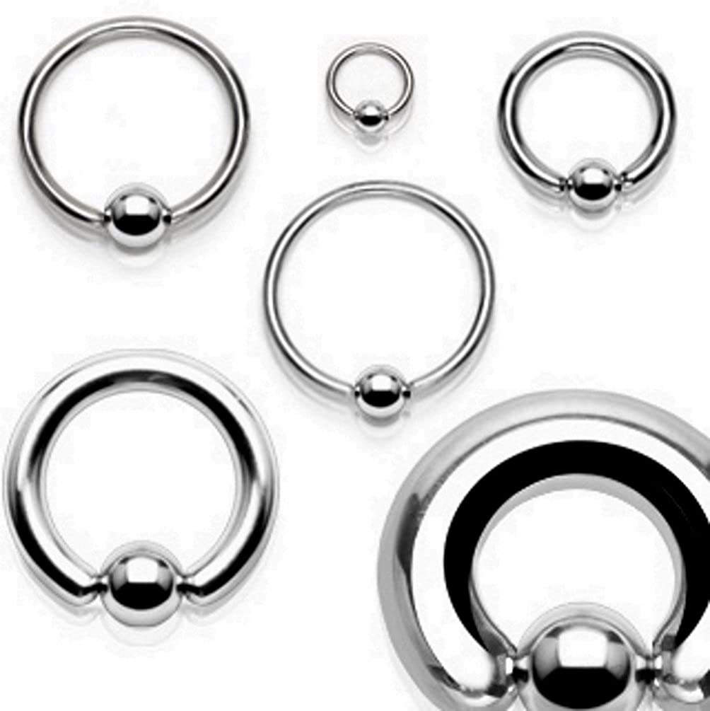 BCN SOLD IN PAIRS Nose Hoop Seamless Hinged Segment Ring Beads Surgical Steel Captive Bead Piercing 20GA to 00Guage