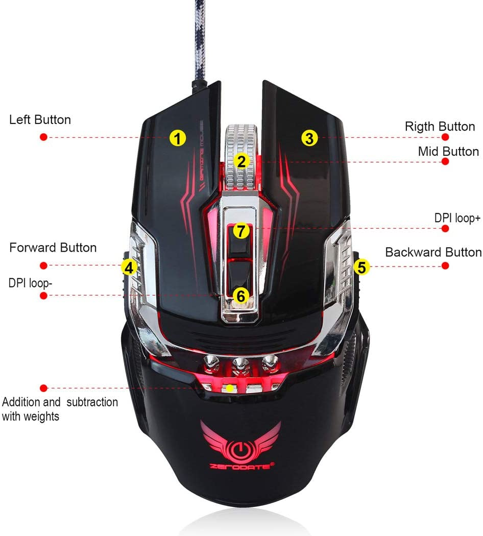 Mechanical Gaming Mouse for PC laptops-Black Comfortable Wired USB Optical RGB Ergonomic Mouse